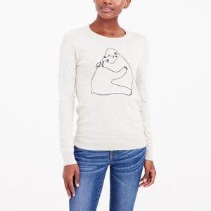J. Crew Creamy Gray Polar Bear Hugs Sweater XL